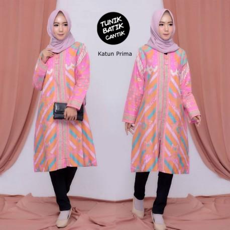 Tunik Batik Pink Cerah Sofie Kancing Depan