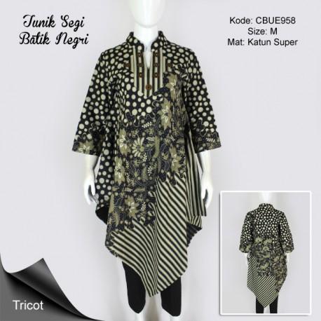 Tunik Batik Trikot Segi Motif Tiga Negri