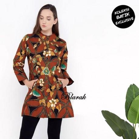 Tunik Blarak Motif Batik Kawung Gajah Coklat