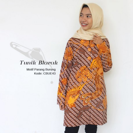 Tunik Wanita Batik Blarak Parang Burung Kuning