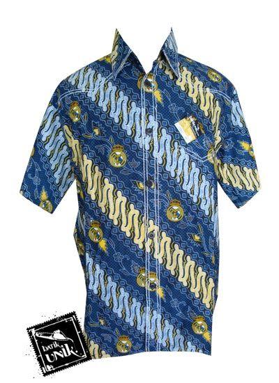 Baju Batik Kemeja Smok Motif Batik Bola Real Madrid