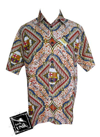 Baju Batik Kemeja Smok Motif Batik Bola Barcelona