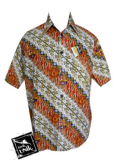 Baju Batik Kemeja Smok Motif Batik Bola Barcelona + M.U