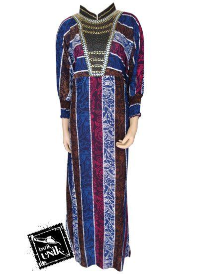 Baju Batik Gamis Motif Liris Warna Kerah Shanghai