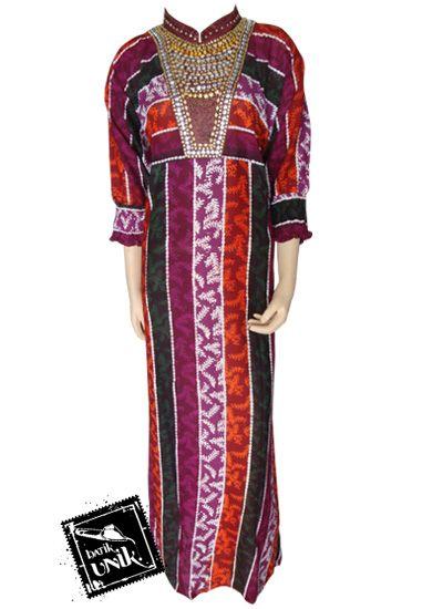 Baju Batik Gamis Motif Liris Warna Kerah Shanghai Gamis