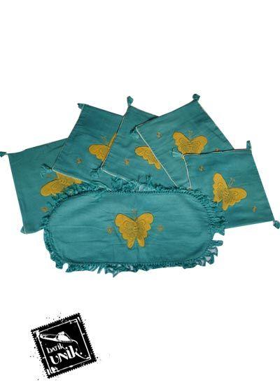 Sarung Bantal Kursi Batik Motif Kupu Tosca