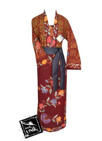 Baju Batik Gamis Katun Primis Motif Bunga Batik Cap