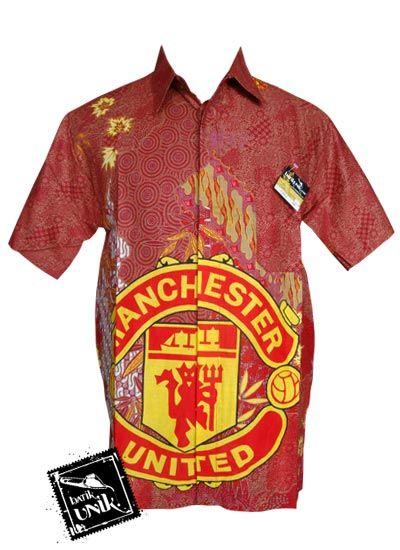Baju Batik Kemeja Motif Batik Bola MU