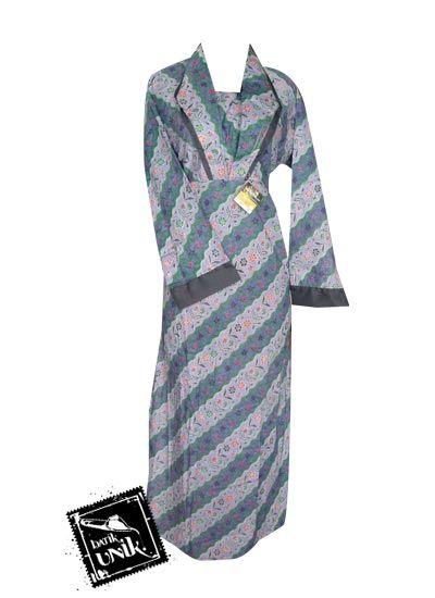 Baju Batik Gamis Katun Motif Liris Kembang