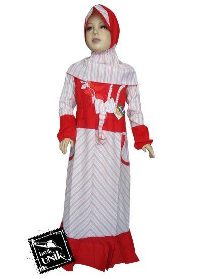 Baju Batik Gamis Anak Motif Lurik Pita Warna Baju Muslim