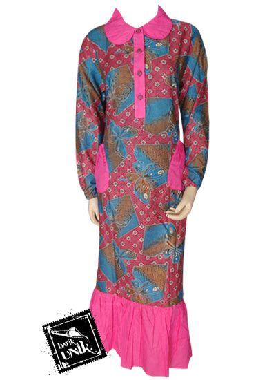 baju batik gamis kancing depan motif etnik kupu gamis
