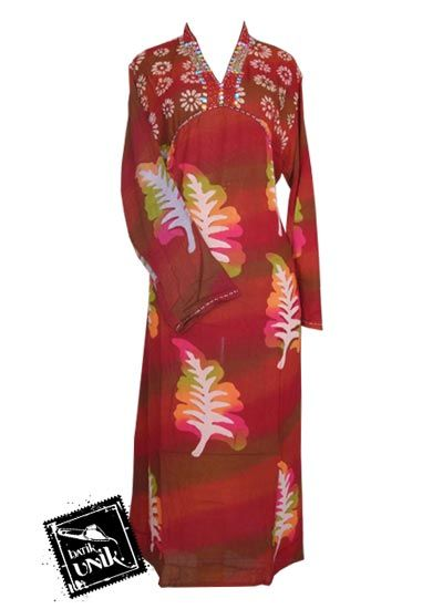 Baju Batik Longdress Motif Kembang Goyang Pelangi Gamis