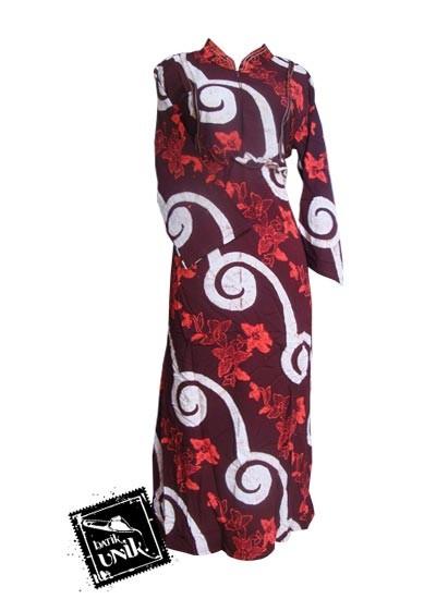 Baju Batik Gamis Silk Motif Sungut Kembang Gamis Batik