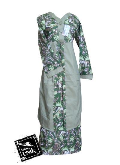 Baju batik gamis motif batik pelikan melayu gamis batik Baju gamis batik hijau tosca