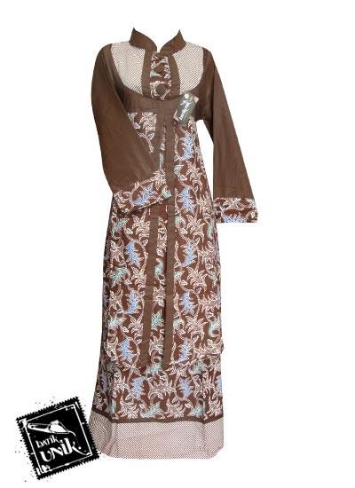Baju Batik Gamis Motif Lurik Bintang Awur Coklat Coklat