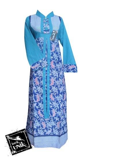 Baju Batik Gamis Motif Lurik Bintang Awur Biru Biru