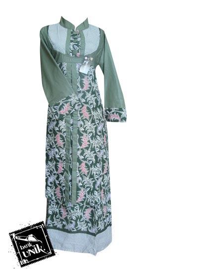 Baju Batik Gamis Motif Lurik Bintang Awur Hijau Hijau