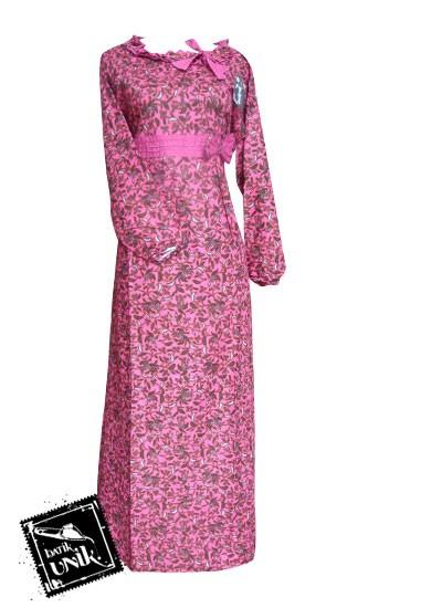 Baju Batik Gamis Motif Batik Etnik Kombinasi Gamis Batik