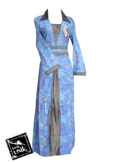Baju Batik Gamis Motif Kembang Trenggono Biru