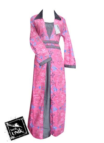 Baju Batik Gamis Motif Kembang Trenggono Pink