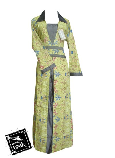 Baju Batik Gamis Motif Kembang Trenggono Hijau