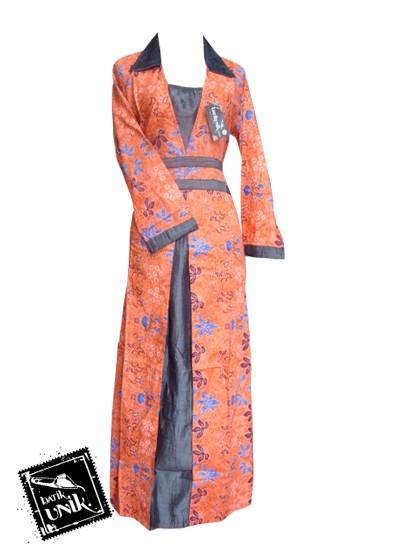 Baju Batik Gamis Motif Kembang Trenggono Orange