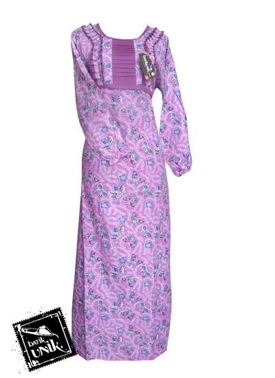 Baju Batik Gamis Motif Batik Sekar Tipak Ulo Ungu