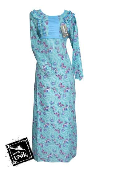 Baju Batik Gamis Motif Batik Sekar Tipak Ulo Biru Laut