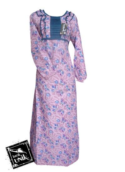 Baju Batik Gamis Motif Batik Sekar Tipak Ulo Pink Soft