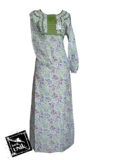 Baju Batik Gamis Motif Batik Sekar Tipak Ulo Hijau Soft