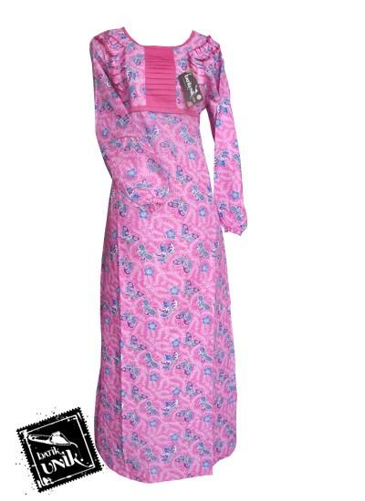 Baju Batik Gamis Motif Batik Sekar Tipak Ulo Pink