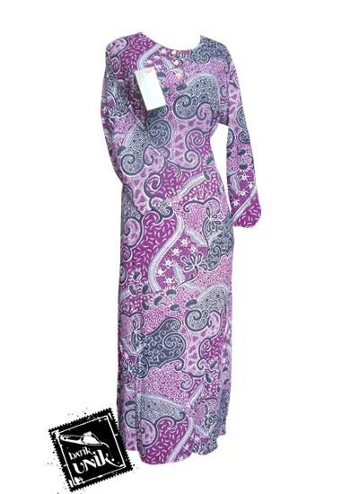 Baju Batik Gamis Motif Batik Etnik Ungu Ungu