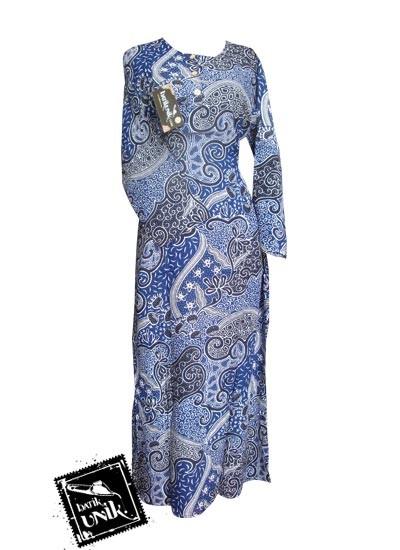 Baju Batik Gamis Motif Batik Etnik Biru Biru