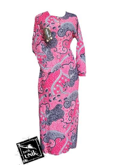 Baju Batik Gamis Motif Batik Etnik Pink Pink