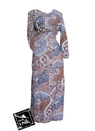 Baju Batik Gamis Motif Batik Etnik Coklat Coklat