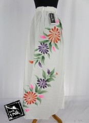 Rok Batik Cantik Motif Batik Putih Lukis Bunga
