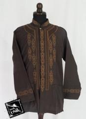 Baju Batik Koko Exclusive Motif Kotak Aplikasi Bordir