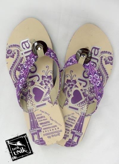 Sandal Batik Terbaru  Tali Kancing Batok Ungu