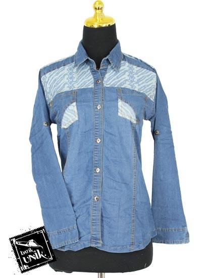 Baju Blus Panjang Jeans Motif Kawung Aksen Semprot