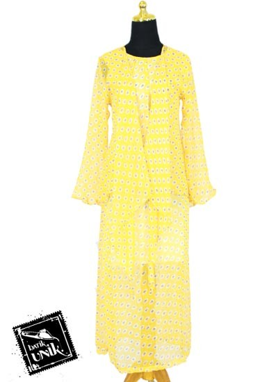 Baju Batik Gamis Modern Sifon Motif Bunga Bunga Ceplok Kuning