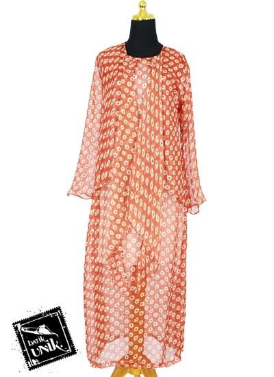 Baju Batik Gamis Modern Sifon Motif Bunga Bunga Ceplok orange tua