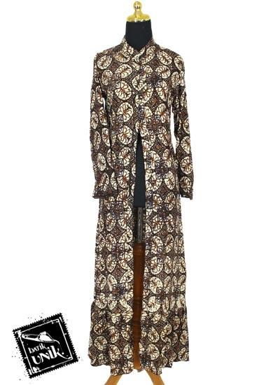 Baju Batik Terbaru  Gamis Jubah Motif Batik Terbaru  Parang Sogan Soft