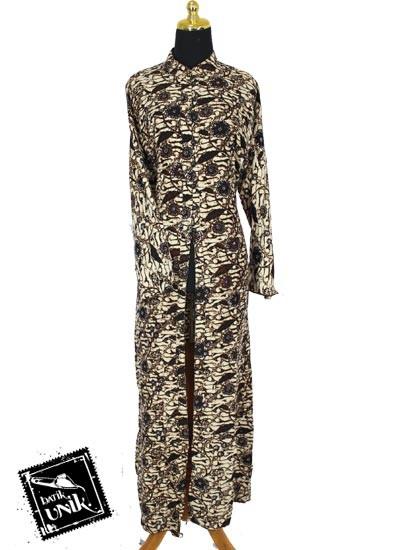 Baju Batik Gamis Jubah Motif Batik Parang Sogan Soft