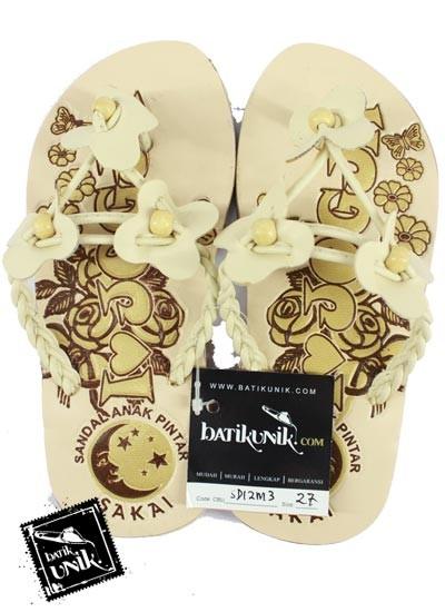 Sandal Batik Anak Tali Kepang Kupu Tiga Pink putih tulang