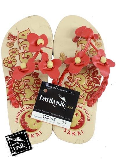 Sandal Batik Anak Tali Kepang Kupu Tiga Pink