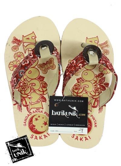 Sandal Batik Terbaru  Anak Tali Kancing Batok merah