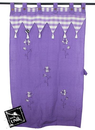 Gorden Pintu Tenun Motif Bunga Bordir Batik Terbaru  ungu