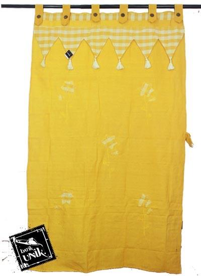 Gorden Pintu Tenun Motif Bunga Bordir Batik kuning