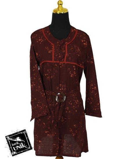 Baju Batik Blus Panjang Katun Primis Motif Cap Kembang Songgo langit