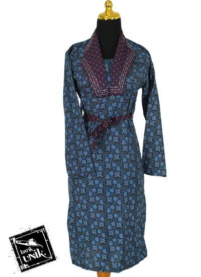 Baju Batik Sarimbit Dress Motif Capocinno Warna Biru